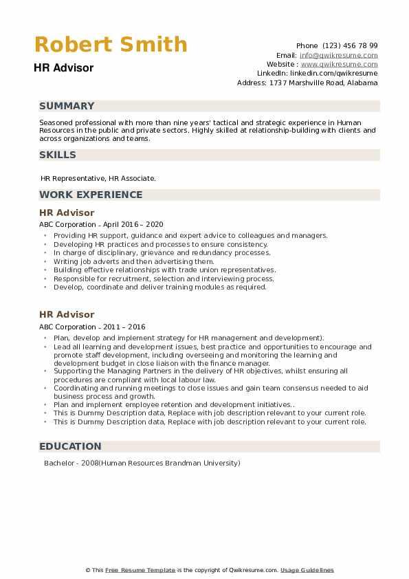 HR Advisor Resume Samples | QwikResume