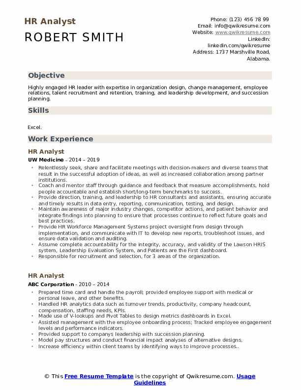 HR Analyst Resume Template