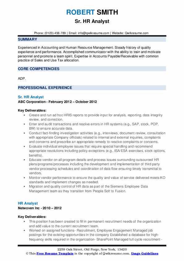 Sr. HR Analyst Resume Example