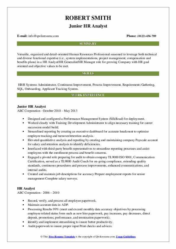 Junior HR Analyst Resume Sample