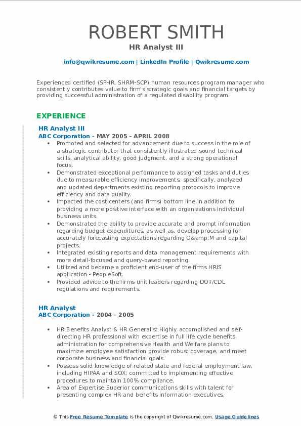 HR Analyst III Resume Sample