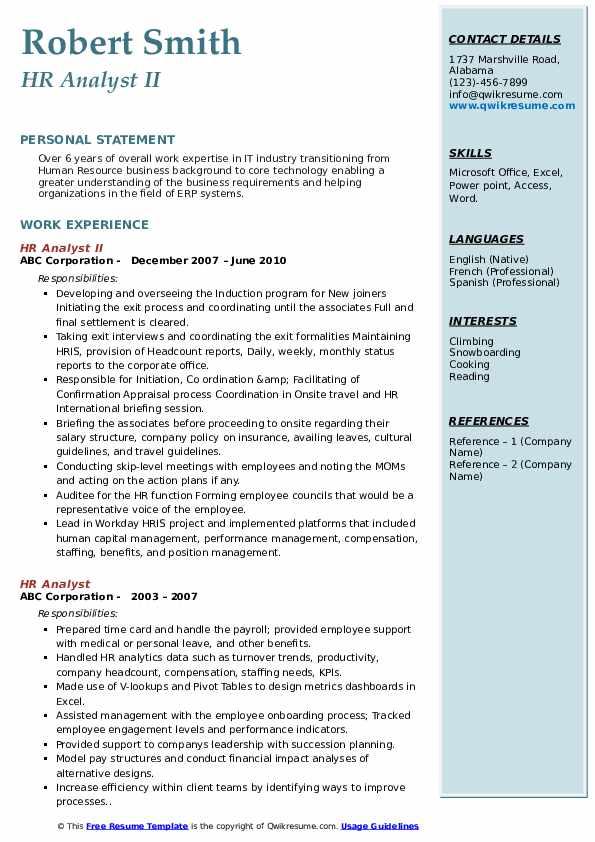 HR Analyst II Resume Template