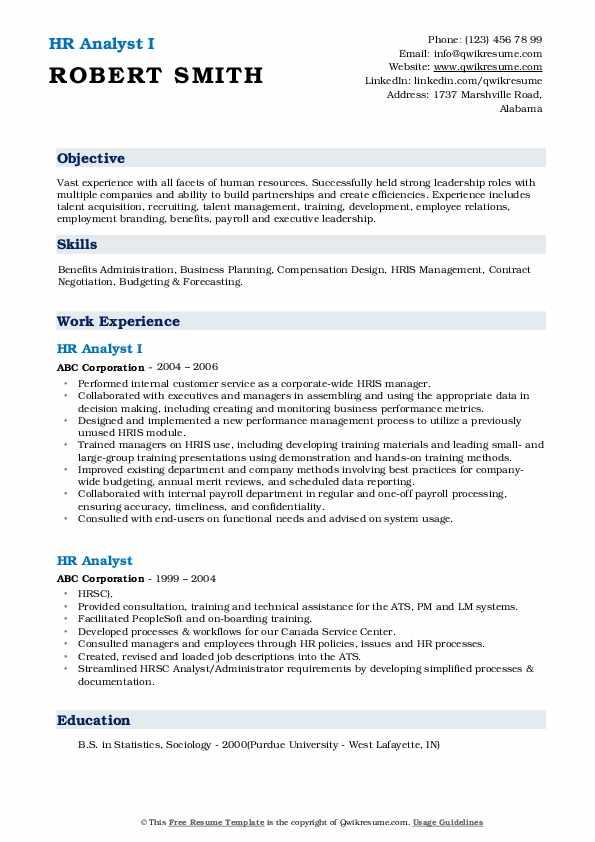 HR Analyst I Resume Example