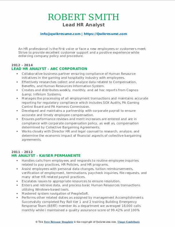 Lead HR Analyst Resume Model