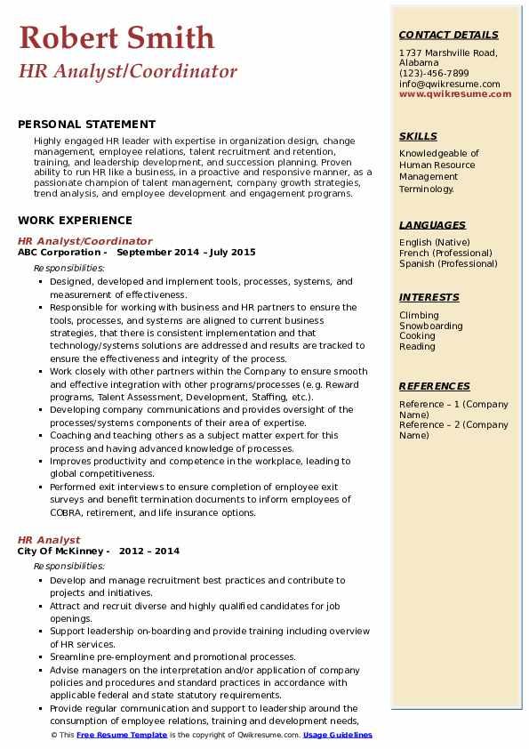 HR Analyst/Coordinator Resume Format
