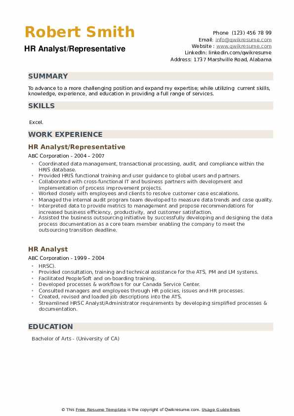HR Analyst/Representative Resume Model