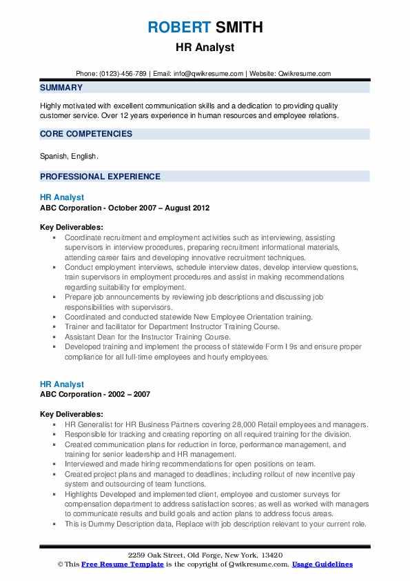 HR Analyst Resume example