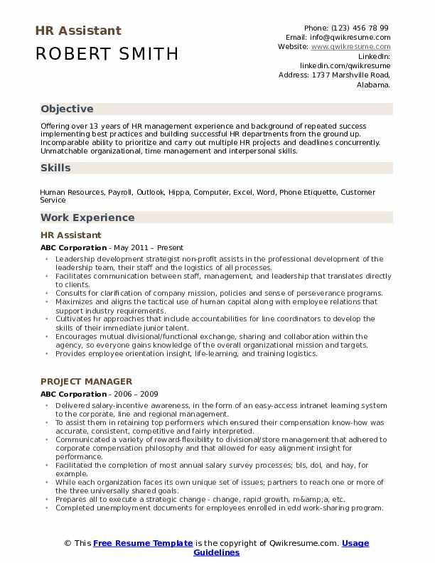 HR Assistant Resume Model