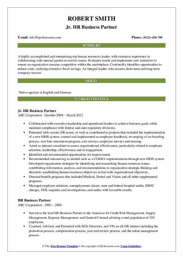 hr business partner resume samples