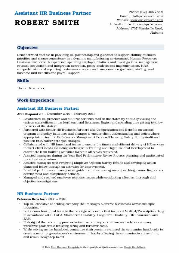 Hr Business Partner Resume Samples Qwikresume