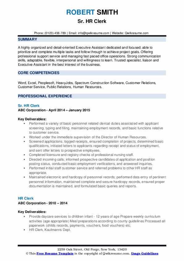 Sr. HR Clerk Resume Sample