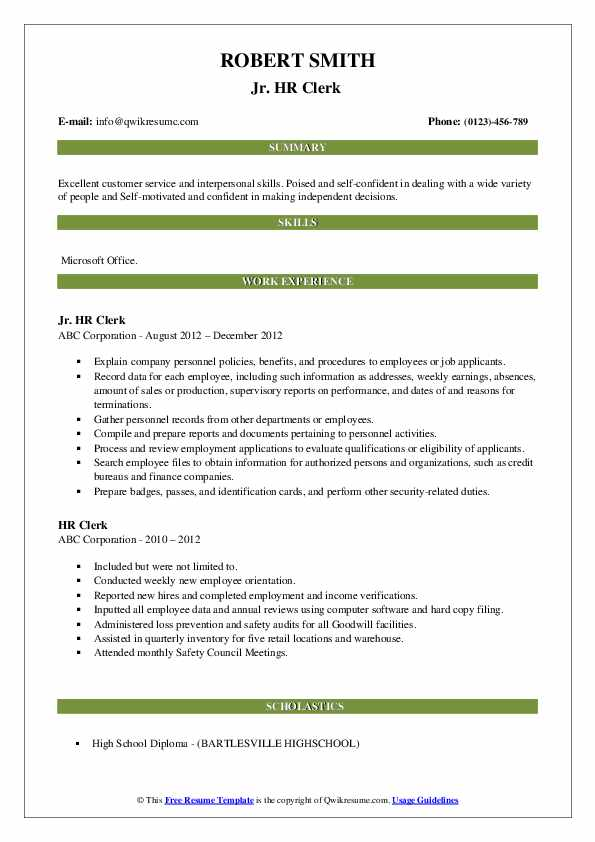 Jr. HR Clerk  Resume Template