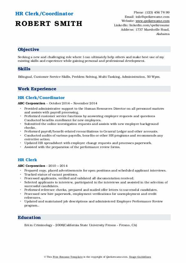 HR Clerk/Coordinator Resume Model