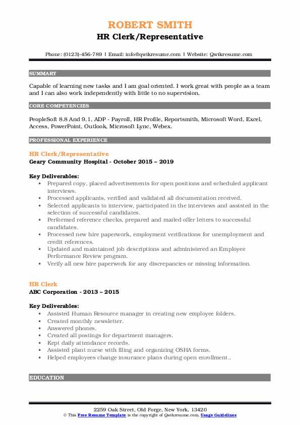HR Clerk/Representative Resume Example