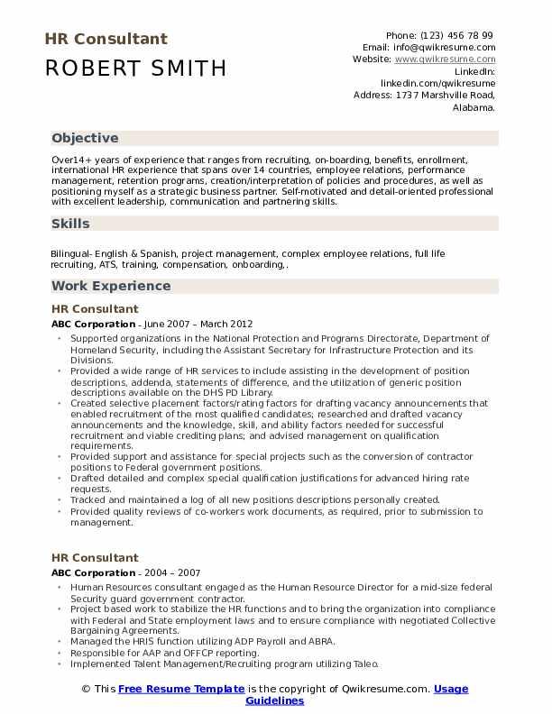 hr consultant resume samples