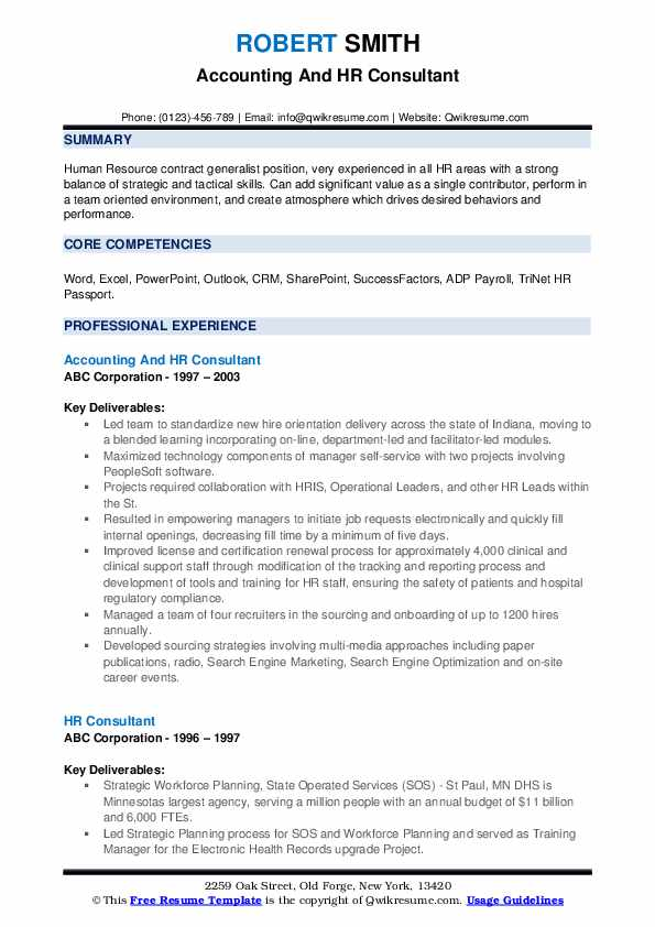 Accounting And HR Consultant Resume Model