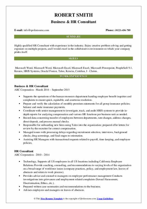 Business & HR Consultant Resume Format