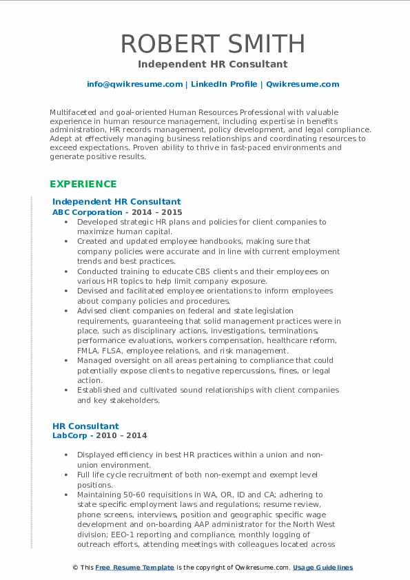 Independent HR Consultant Resume Format
