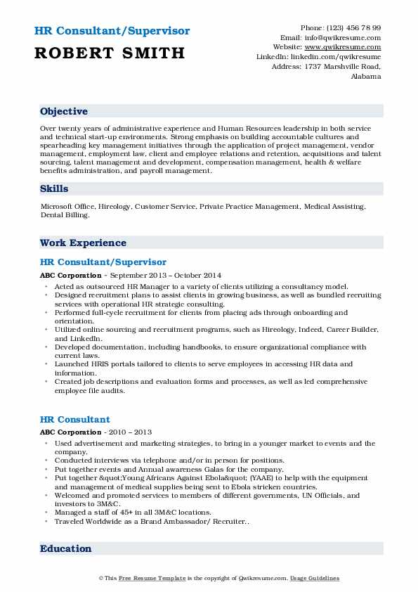 HR Consultant/Supervisor Resume Model