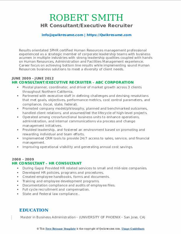 HR Consultant/Executive Recruiter Resume Template