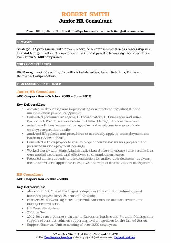 Junior HR Consultant Resume Template