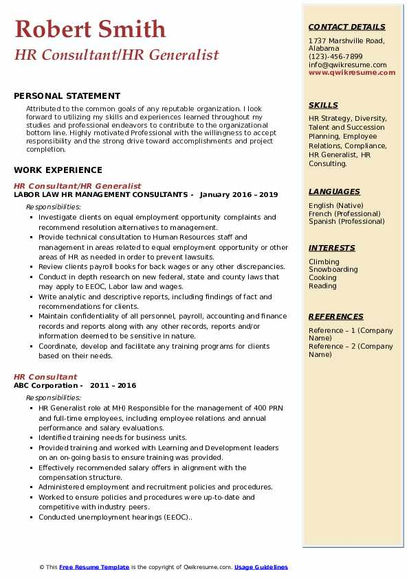 HR Consultant/HR Generalist Resume Sample