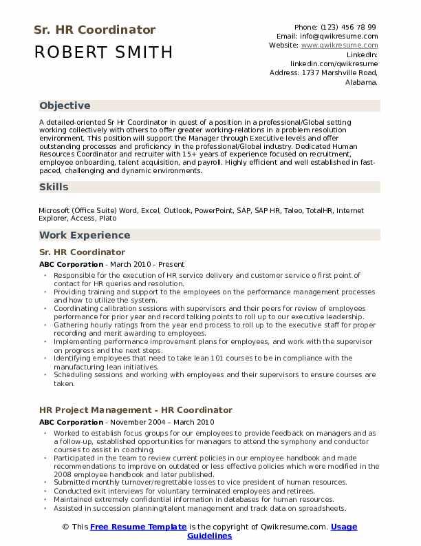 Sr. HR Coordinator Resume Example