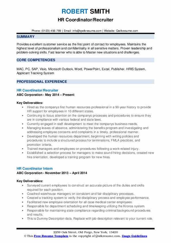 HR Coordinator/Recruiter Resume Model