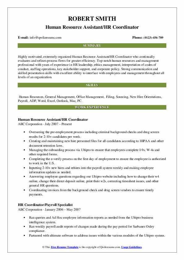 Human Resource Assistant/HR Coordinator Resume Format