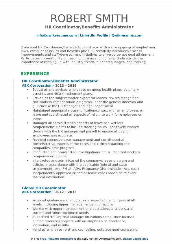 hr coordinator resume samples