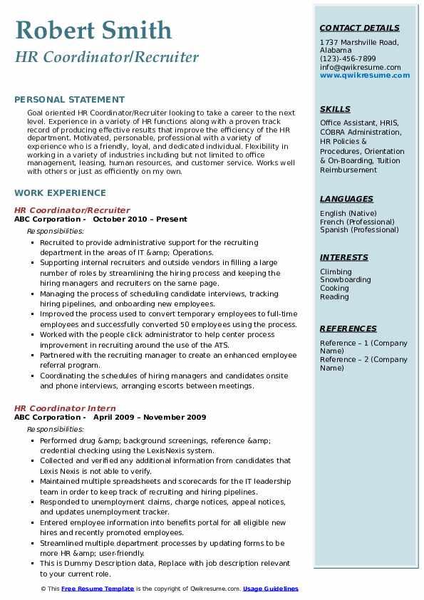 HR Coordinator/Recruiter Resume Example