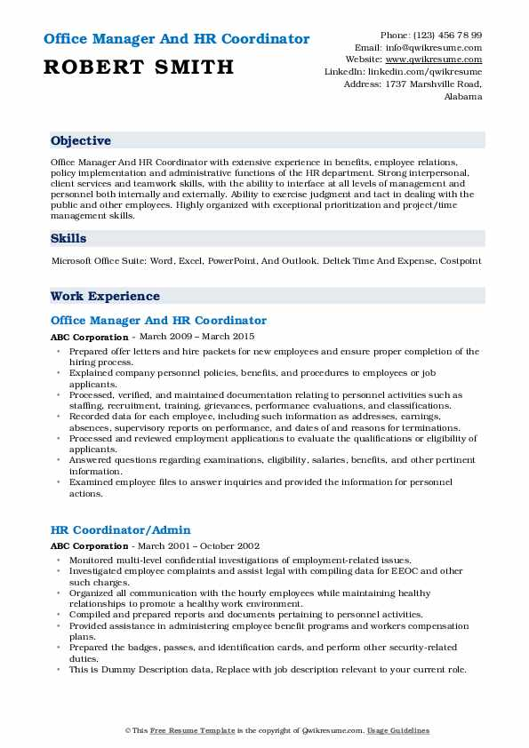 Office Manager And HR Coordinator Resume Model