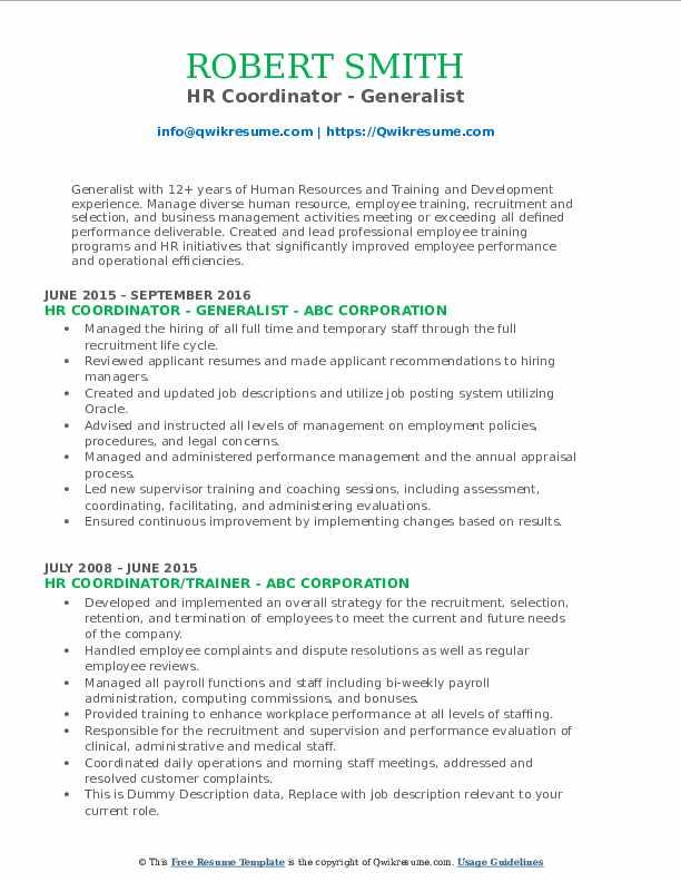 HR Coordinator - Generalist Resume Sample