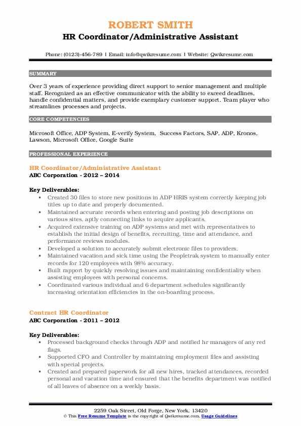 HR Coordinator/Administrative Assistant Resume Model