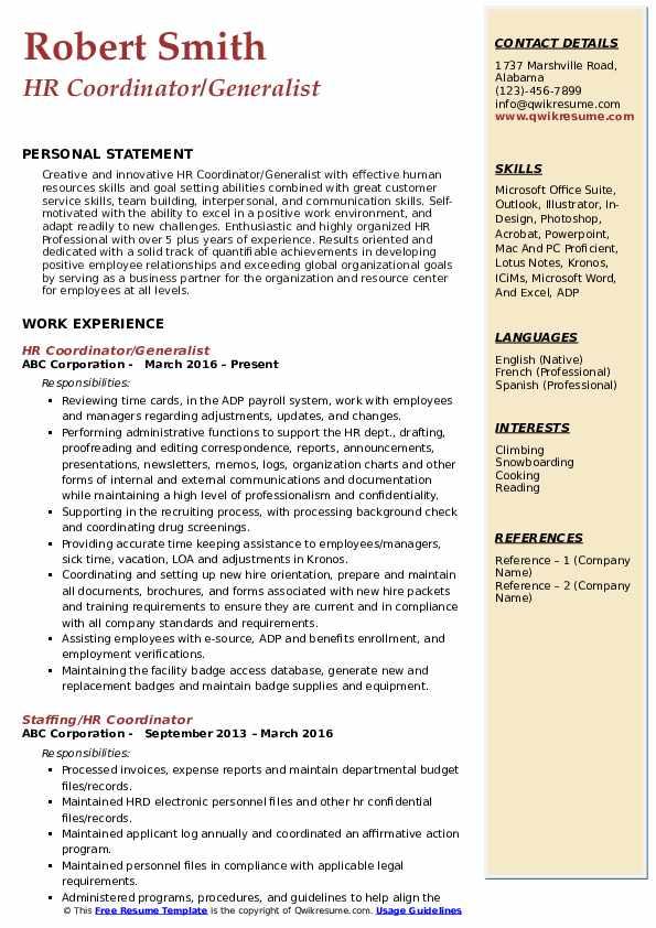 HR Coordinator/Generalist Resume Example