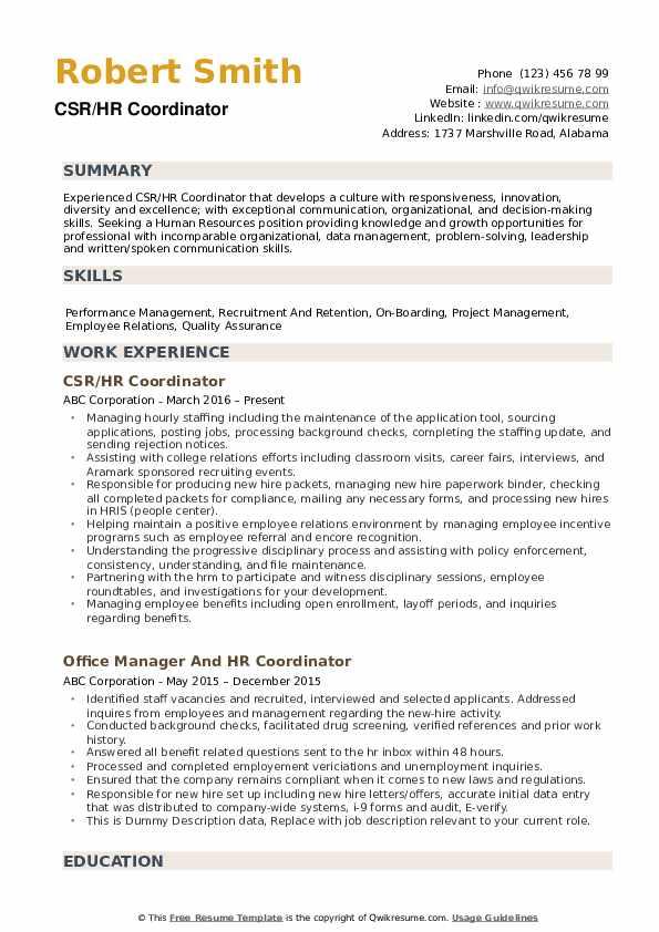 HR Coordinator Resume example