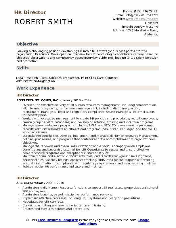 HR Director Resume Template
