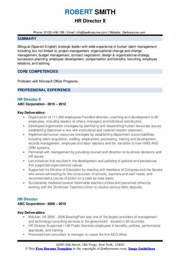 HR Director II Resume Sample