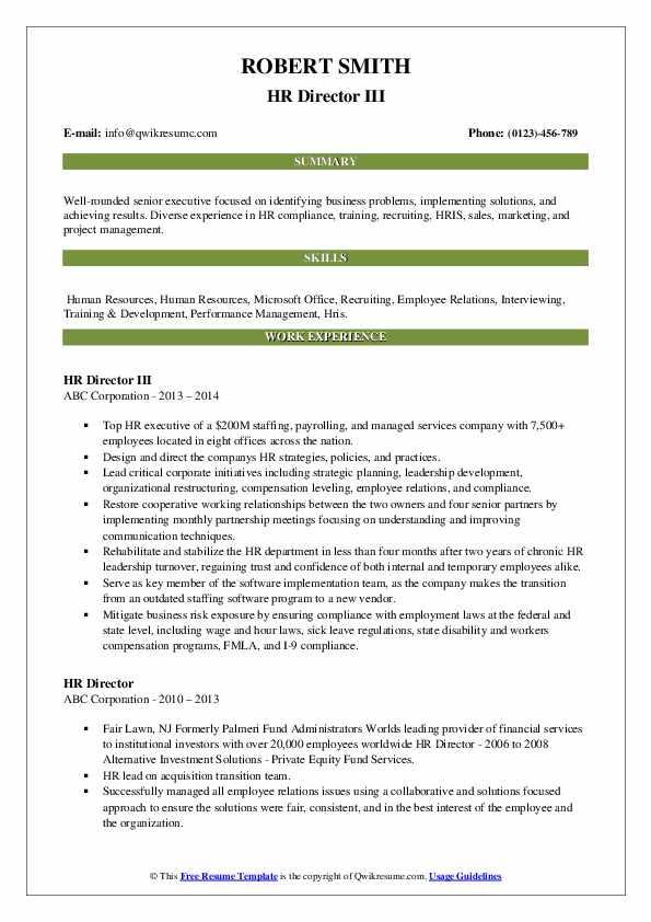 HR Director III Resume Example