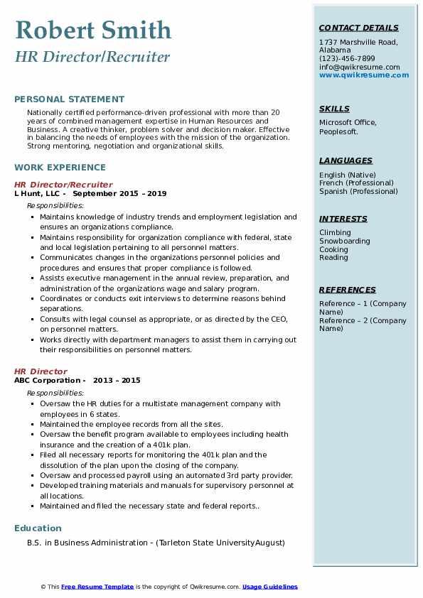 HR Director/Recruiter Resume Format