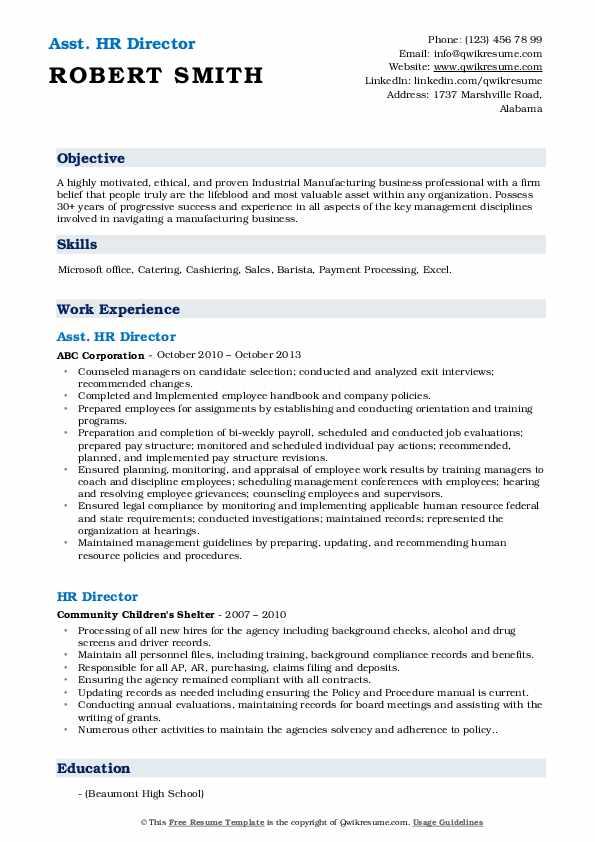 Asst. HR Director Resume Format