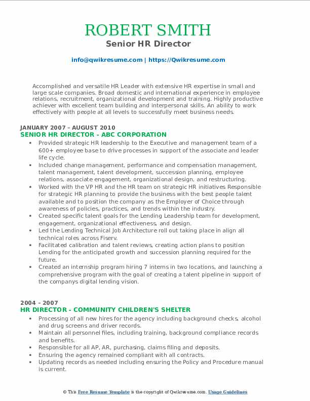 Senior HR Director Resume Format