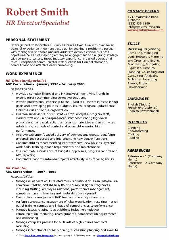 HR Director/Specialist Resume Sample