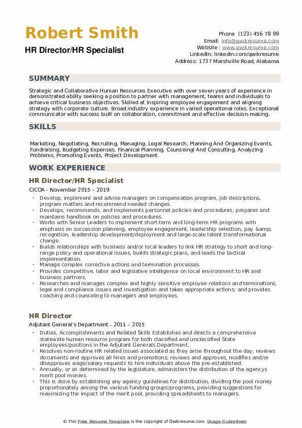 HR Director/HR Specialist Resume Model