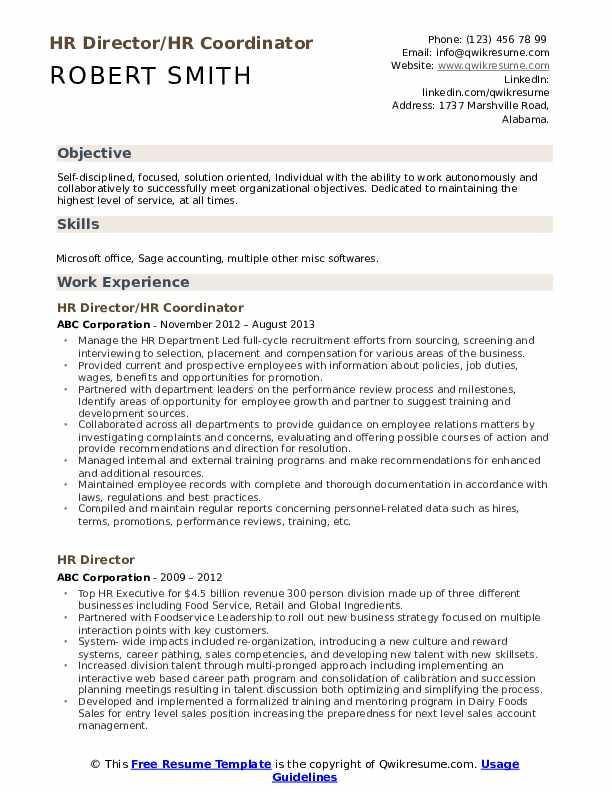 HR Director/HR Coordinator Resume Sample