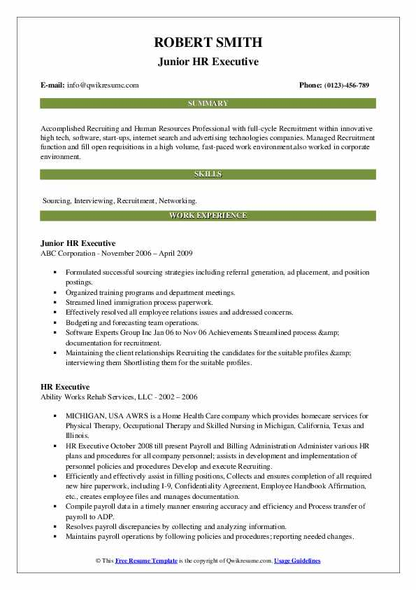 cover letter sample for hr executive position