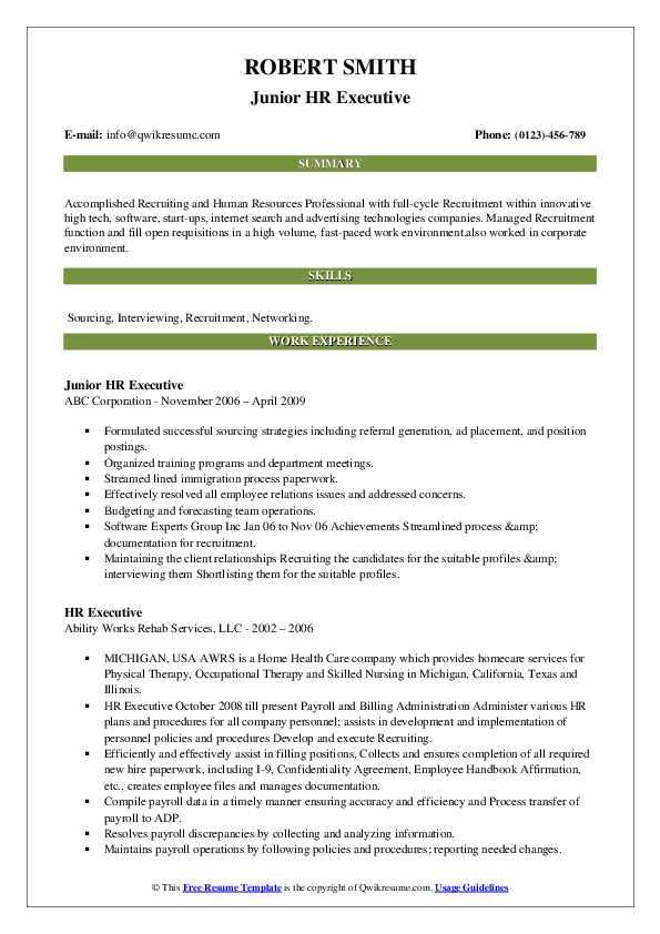 Junior HR Executive Resume Example