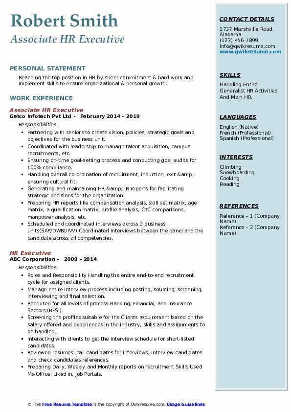 Associate HR Executive Resume Template