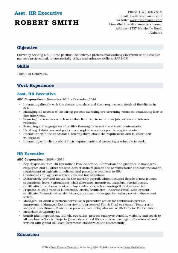 Asst. HR Executive Resume Example