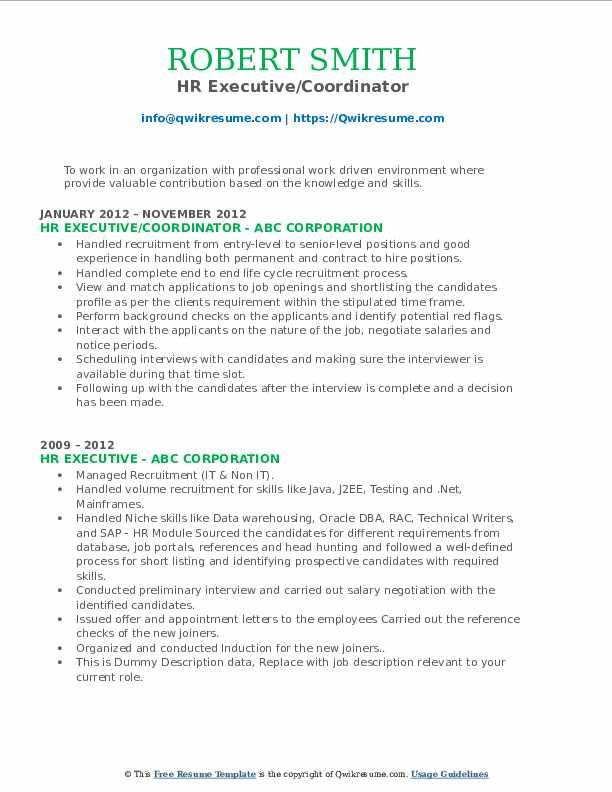 HR Executive/Coordinator Resume Template